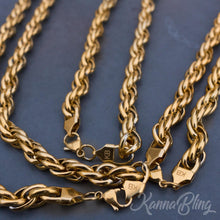 "Load image into Gallery viewer, KannaBling - Gold Rope Chain Purple Double Nug 10mm 28"" (Men)"