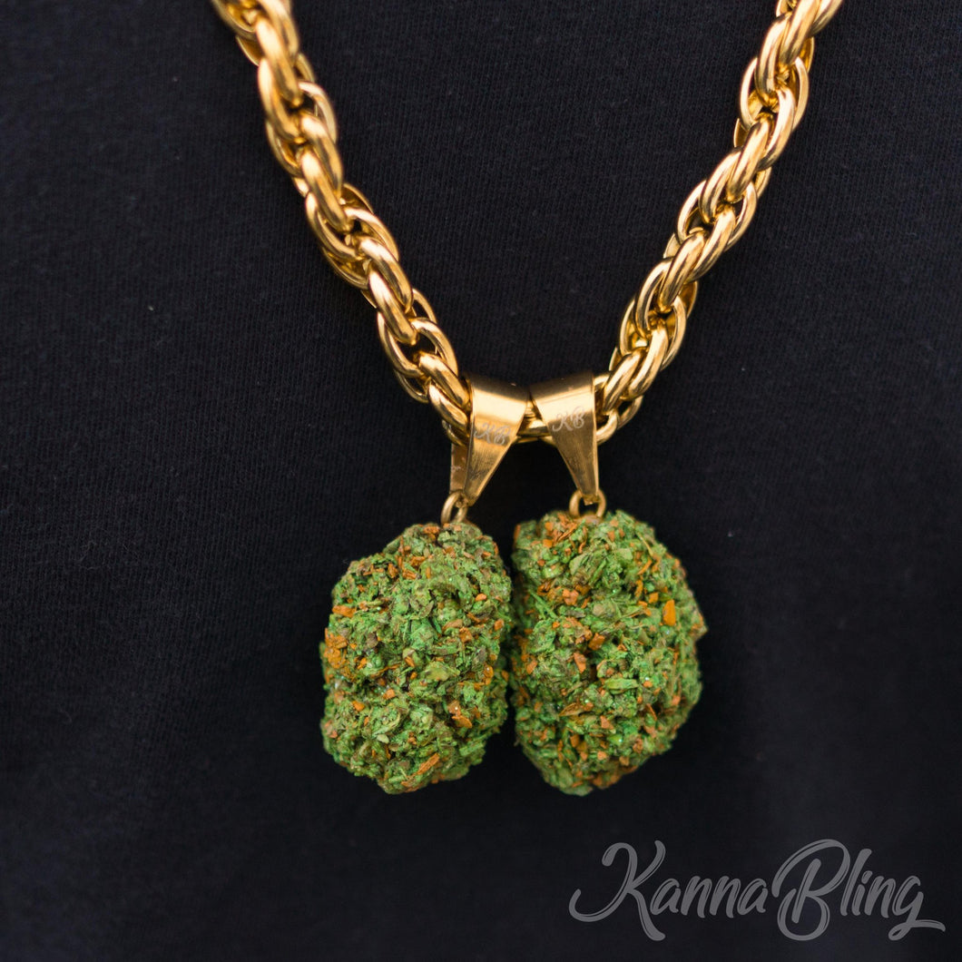 KannaBling - Gold Rope Chain Green Double Nug 10mm 28