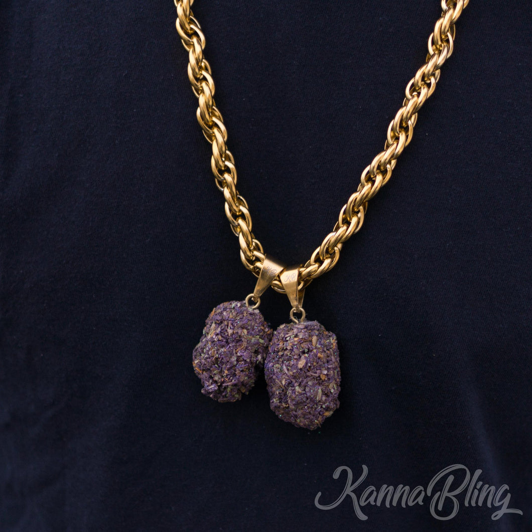 KannaBling - Gold Rope Chain Purple Double Nug 10mm 28