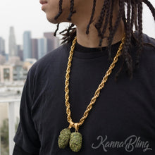 "Load image into Gallery viewer, KannaBling - Gold Rope Chain Green Double Nug 10mm 28"" (Men)"