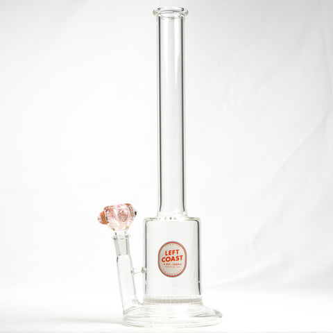 "Left Coast Glass - Waffle - Honeycomb Percolator Straight Water Pipe - 5mm Thickness / 14"" Height"