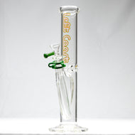 Left Coast Glass - Straight Water Pipe - Rasta Decal - 5mm Thickness / 14