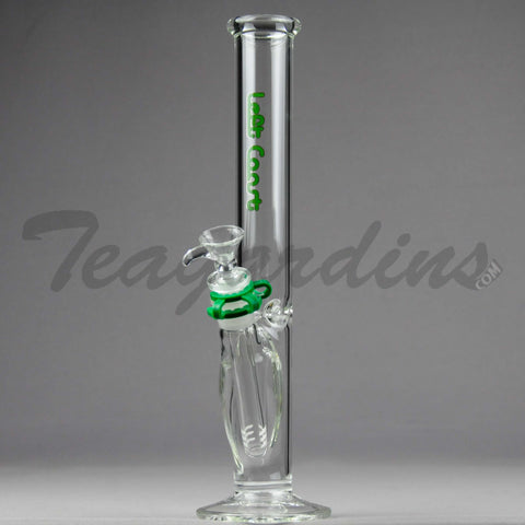 "Left Coast Glass - Diffuser Downstem Straight Water Pipe - Green Decal - 5mm Thickness / 13"" Height"