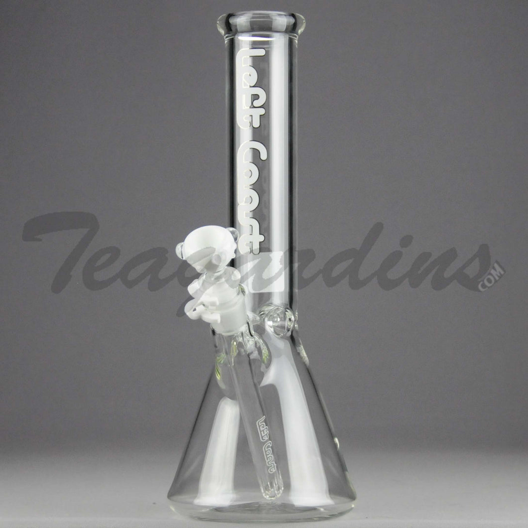 Left Coast Glass - Showerhead Downstem Beaker Water Pipe - White Decal - 5mm Thickness / 12.5