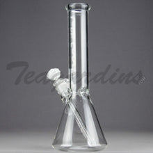 "Load image into Gallery viewer, Left Coast Glass - Showerhead Downstem Beaker Water Pipe - White Decal - 5mm Thickness / 12.5"" Height"