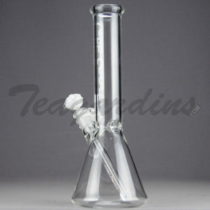 "Left Coast Glass - Showerhead Downstem Beaker Water Pipe - White Decal - 5mm Thickness / 12.5"" Height"