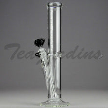 "Load image into Gallery viewer, Left Coast Glass - Diffuser Downstem Straight Water Pipe - Black Decal - 5mm Thickness / 12.5"" Height"