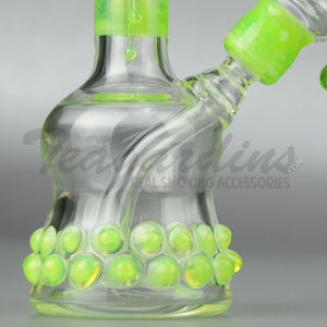 "Lion Glass - Mini Tube - Fixed Diffuser Downstem Dab Rig - Green - 5mm Thickness / 7"" Height"