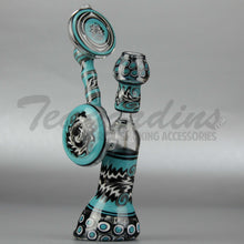 "Load image into Gallery viewer, Lion Glass - Diffuser Downstem Dab Rig - Blue Black - 5mm Thickness / 12"" Height"
