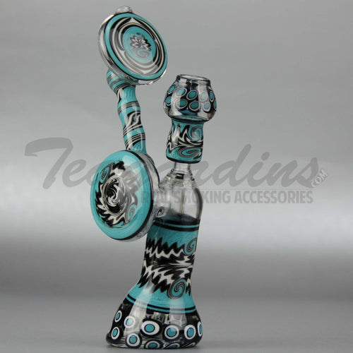 Lion Glass - Diffuser Downstem Dab Rig - Blue Black - 5mm Thickness / 12