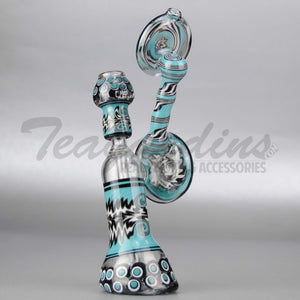 "Lion Glass - Diffuser Downstem Dab Rig - Blue Black - 5mm Thickness / 12"" Height"