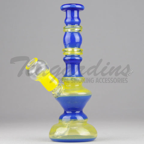 "Lion Glass - Hourglass - Diffuser Downstem Oil Rig - Blue Yellow - 5mm Thickness / 8"" Height"