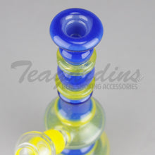 "Load image into Gallery viewer, Lion Glass - Hourglass - Diffuser Downstem Dab Rig - Blue Yellow - 5mm Thickness / 8"" Height"