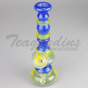 "Lion Glass - Hourglass - Diffuser Downstem Dab Rig - Blue Yellow - 5mm Thickness / 8"" Height"