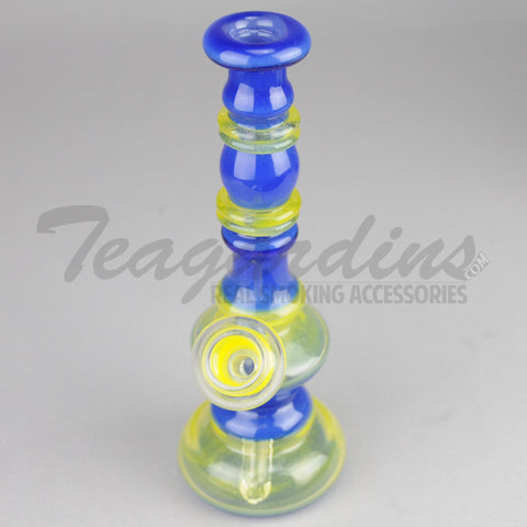 Lion Glass - Blue and Yellow Mini Tube Oil Rig