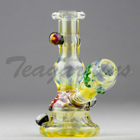 "Lion Glass - Fixed Diffuser Downstem Dab Rig - Yellow - 5mm Thickness / 5"" Height"