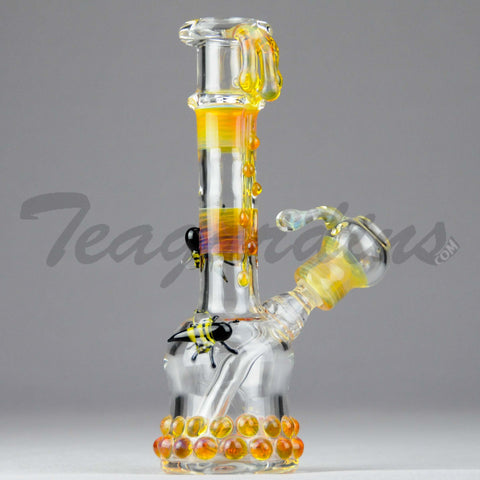 "Lion Glass - Honey Bee's Mini Tube - Diffuser Downstem Dab Rig - Yellow - 5mm Thickness / 7"" Height"