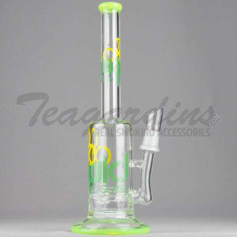 "Liquid Glass - Stemless Coil Percolator Diffuser Dab Rig - Green - 5mm / 12"" Height"