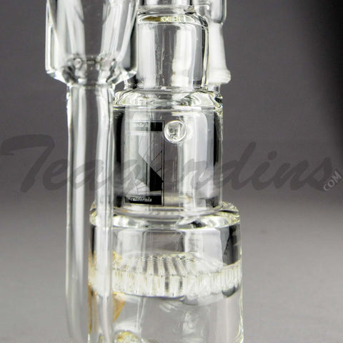 "Mav Glass - Pyramid - Recycler Honeycomb Percolator Diffuser Dab Rig - Clear Glass / Gold Decal - 5mm Thickness / 11"" Height"