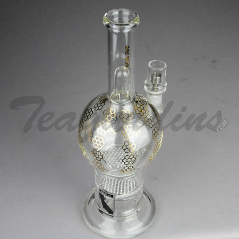 "Mav Glass - Double Honeycomb Percolator Stemless Diffuser Dab Rig - Gold Decal - 5mm Thickness / 10"" Height"