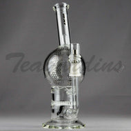 Mav Glass - Double Honeycomb Turbine Percolators Stemless Diffuser Dab Rig - Chrome Decal - 5mm Thickness / 10