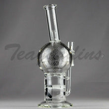 "Load image into Gallery viewer, Mav Glass - Double Honeycomb Turbine Percolators Stemless Diffuser Dab Rig - Chrome Decal - 5mm Thickness / 10"" Height"