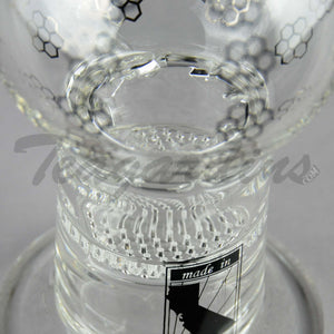 "Mav Glass - Double Honeycomb Turbine Percolators Stemless Diffuser Dab Rig - Chrome Decal - 5mm Thickness / 10"" Height"