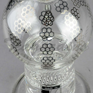 "Mav Glass - Double Honeycomb Percolator Turbine Percolator Stemless Diffuser Dab Rig - Chrome Decal - 5mm Thickness / 10"" Height"