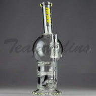 Mav Glass - Double Honeycomb and Turbine Percolators Stemless Dab Rig - Yellow Decal - 5mm Thickness / 10