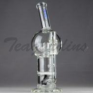 Mav Glass - Bubbler - Honeycomb & UFO Percolator Diffuser Stemless Straight Water Pipe  - Blue Decal - 5mm Thickness / 10