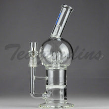 "Load image into Gallery viewer, Mav Glass - Bubbler - Honeycomb & UFO Percolator Diffuser Stemless Straight Water Pipe  - Blue Decal - 5mm Thickness / 10"" Height"
