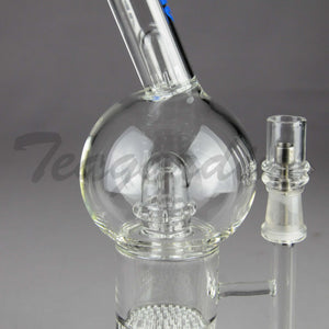 "Mav Glass - Bubbler - Honeycomb & UFO Percolator Diffuser Stemless Straight Water Pipe  - Blue Decal - 5mm Thickness / 10"" Height"