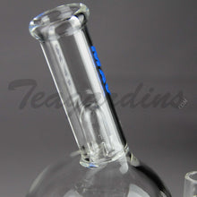 "Load image into Gallery viewer, Mav Glass - Bubbler Stemless Straight Water Pipe  - Blue Decal - 5mm Thickness / 10"" Height"