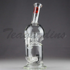"Mav Glass - Bubbler - Double Chamber UFO & Inline Matrix Percolator Stemless Straight Water Pipe - Red Decal - 5mm Thickness / 10"" Height"