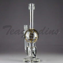 "Load image into Gallery viewer, Mav Glass - Stemless Bubble Bottom / Straight Foot Water Pipe - Gold Decal - 5mm Thickness / 11"" Height"