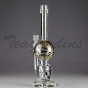 "Mav Glass - Stemless Bubble Bottom / Straight Foot Water Pipe - Gold Decal - 5mm Thickness / 11"" Height"