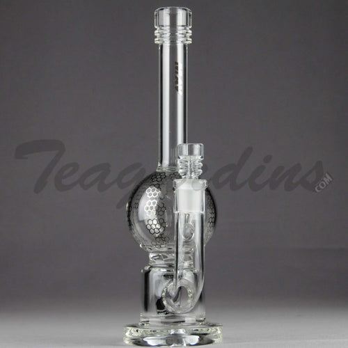Mav Glass - Turbine Percolator Diffuser Stemless Bubble Bottom / Straight Foot Water Pipe - Chrome Decal - 5mm Thickness / 10.5