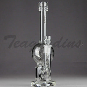 "Mav Glass - Turbine Percolator Diffuser Stemless Bubble Bottom / Straight Foot Water Pipe - Chrome Decal - 5mm Thickness / 10.5"" Height"