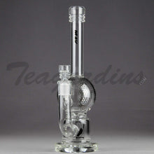 "Load image into Gallery viewer, Mav Glass - Turbine Percolator Diffuser Stemless Bubble Bottom / Straight Foot Water Pipe - Chrome Decal - 5mm Thickness / 10.5"" Height"