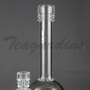 "Mav Glass - Stemless Bubble Bottom / Straight Foot Water Pipe - Chrome Decal - 5mm Thickness / 10.5"" Height"