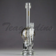 Mav Glass - Bubbler - Double Chamber UFO Percolator Stemless Straight Water Pipe - Gold Decal - 5mm Thickness / 10.5