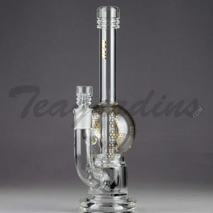 "Mav Glass - Bubbler - Double Chamber UFO Percolator Stemless Straight Water Pipe - Gold Decal - 5mm Thickness / 10.5"" Height"