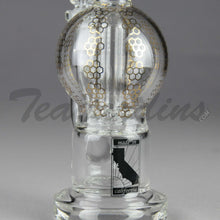 "Load image into Gallery viewer, Mav Glass - Bubbler - Double Chamber UFO Percolator Stemless Straight Water Pipe - Gold Decal - 5mm Thickness / 10.5"" Height"