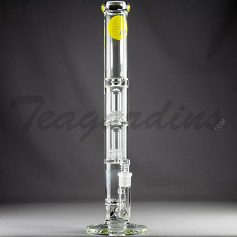 "Mav Glass - Triple Chamber Double UFO Percolator &Turbine Percolator Stemless Straight Water Pipe - Yellow Decal - 5mm Thickness / 19"" Height"