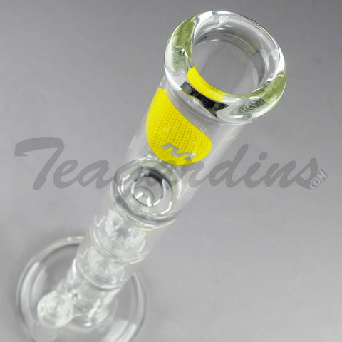 "Mav Glass - Stemless Triple Chamber Straight Water Pipe - Yellow Decal - 5mm Thickness / 19"" Height"