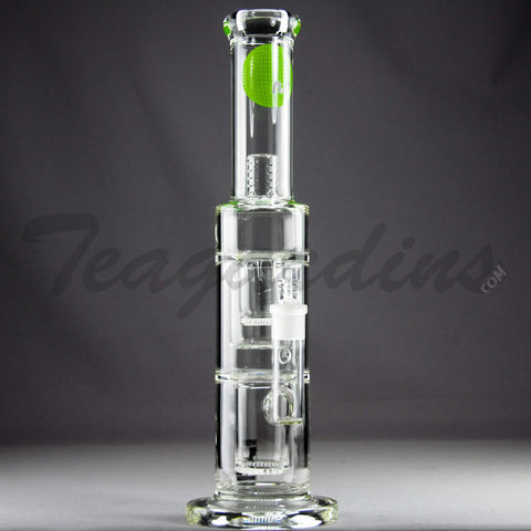 "Mav Glass - Double Chamber Double Honeycomb Percolator Stemless Straight Water Pipe - Green Decal - 5mm Thickness / 16"" Height"