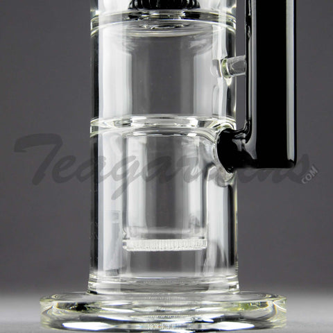 "Mav Glass - Double Chamber Double UFO Percolator & Honeycomb Percolator Diffuser Stemless Straight Water Pipe - Black - 5mm Thickness / 16"" Height"