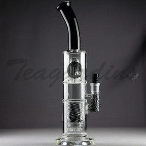 "Mav Glass - Double Chamber Double Worked UFO & Showerhead Percolator Stemless Straight Water Pipe - Black and White - 5mm Thickness / 17"" Height"