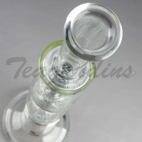 "Mav Glass - Stemless Triple Chamber Straight Water Pipe - Black Decal - 5mm Thickness / 18"" Height"