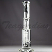 "Load image into Gallery viewer, Mav Glass - Double Chamber Double UFO Percolator Stemless Straight Water Pipe - Black Decal - 5mm Thickness / 15"" Height"